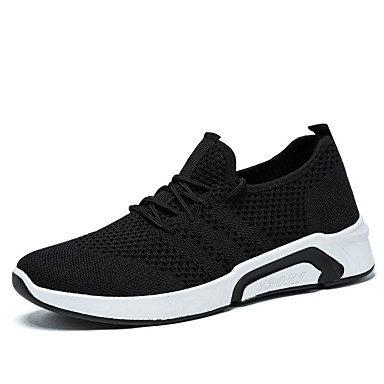 Men's Comfort Shoes Mesh / Elastic Fabric Fall Sporty Athletic Shoes Running Shoes Non-slipping Black / Gray / Red