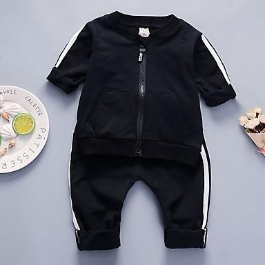 cbc92c8f3b4 Μωρό Αγορίστικα Ενεργό Καθημερινά Στάμπα Μακρυμάνικο Κανονικό Πολυεστέρας  Σετ Ρούχων Μαύρο