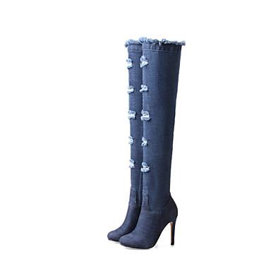 Aiguille amp; 06857352 Mode de Soirée Automne Bleu pointu Chaussures la Evénement Bottes Cuissarde Talon jean hiver Bottes Toile Femme Bout à Uq7wRzpEx
