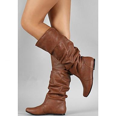 povoljno Ženske čizme-Žene Čizme Fashion Boots Ravna potpetica Okrugli Toe Kopča PU Čizme do pola lista minimalizam Jesen zima Sive boje / Braon / Žutomrk