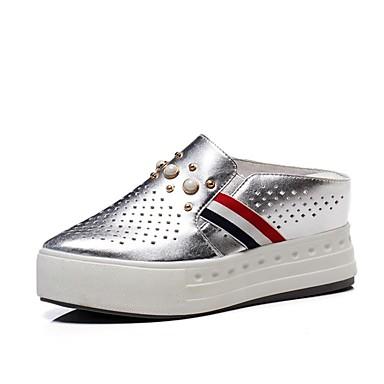Chaussures Mules Printemps Noir Blanc Sabot Argent amp; Nappa Confort 06849787 Cuir Creepers Femme été Rd8HFnxRq