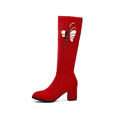 Women's Fashion Boots Suede Fall & Winter Chinoiserie Boots Knee Chunky Heel Round Toe Knee Boots High Boots Black / Red / Party & Evening f17d70