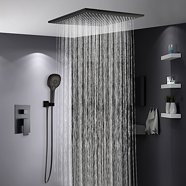 Shower Faucet - Contemporary Painted Finishes Shower System Ceramic Valve Bath Shower Mixer Taps / Brass / Single Handle Three Holes