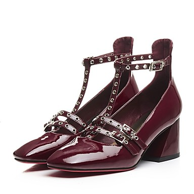 Block Talons été Chaussures Chaussures Femme Nappa 06849710 Cuir à Heel Vin Noir Confort Printemps zpfRHqw