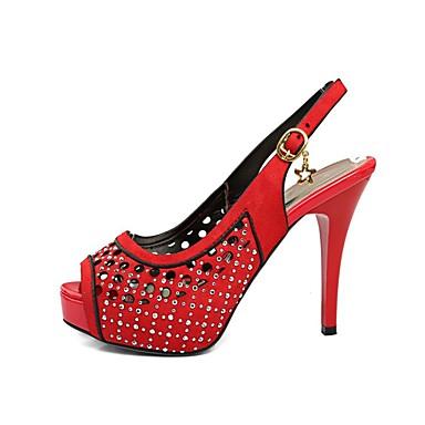 Arrière 06858858 Rouge Jaune Polyuréthane Bride Bout A ouvert Femme Aiguille Chaussures Eté Rivet Sandales Talon Café q1axnZXw
