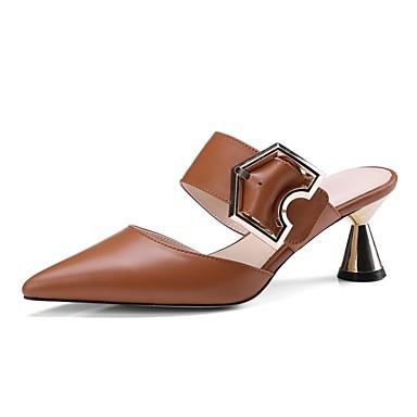 Amande Nappa Noir Confort Talon amp; Cuir 06858088 Eté hétérotypique Femme Chaussures Mules Marron Sabot TxnEqI7B