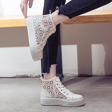 plataforma Mujer de Dedo Negro Otoño Media Zapatillas Confort Rosa Blanco Tela Zapatos deporte 06858878 redondo Sqpaxr8FpX