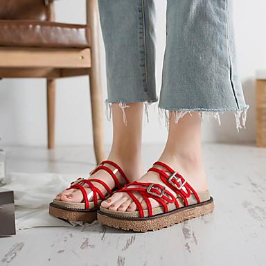 Media Rojo Blanco Descubierto Primavera Zapatos Sandalias Negro verano Mujer PU 06863913 plataforma Talón nUAPaqa0z