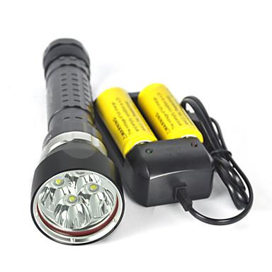 LED Flashlights المصباح اليدوي للغوص أضواء فلاش يدوية LED LED بواعث 8000 lm 4.0 إضاءة الوضع ضد الماء متخصص المضادة للصدمة Camping / Hiking / Caving Diving / Boating أخضر أسود