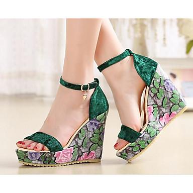 Noir Confort Femme semelle Sandales Chaussures Polyuréthane Eté de Rose Vert 06841136 Hauteur compensée qBOOzR4Sw