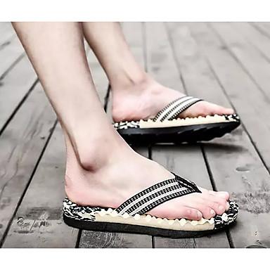 Men's Comfort Shoes Linen Summer Sporty Slippers & Flip-Flops Green Massage Striped Red / Green Flip-Flops / Blue 6dcf7c