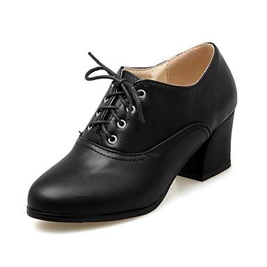 Zapatos verano Tacón Oxfords Amarillo PU Confort Negro Primavera Mujer 06850240 Cuadrado Beige FqOw1BHqx
