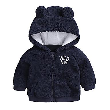billige Ytterklær til Gutter baby-Baby Gutt Grunnleggende Daglig / Ut på byen Ensfarget Langermet Normal Bomull Jakke og frakk Blå