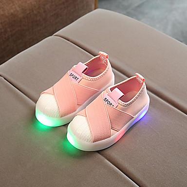 voordelige Babyschoenentjes-Meisjes Comfortabel / Oplichtende schoenen Canvas Sneakers Peuter (9m-4ys) / Little Kids (4-7ys) LED Zwart / Grijs / Roze Lente & Herfst