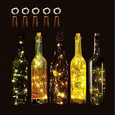 رخيصةأون الحديقة والمنزل-brelong 5 قطع 1 متر 10led الخرز زجاجة النبيذ النحاس سلسلة أضواء عيد الميلاد هالوين حفل زفاف والديكور الداخلي