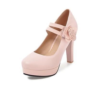 Chaussures Bout Chaussures Talon Femme Talons Beige été Basique Bottier à Printemps Polyuréthane Escarpin Noir 06846205 Rose rond dwqS4HP