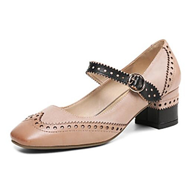 des printemps chaussures en cuir base nappa printemps des pompe talons chunky talon blanc / Bleu  / chameau e97c8e