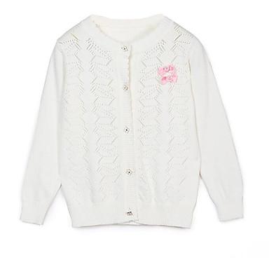 baratos Suéteres & Cardigans para Meninas-Infantil Para Meninas Moda de Rua Para Noite Sólido Manga Longa Padrão Suéter & Cardigan Branco