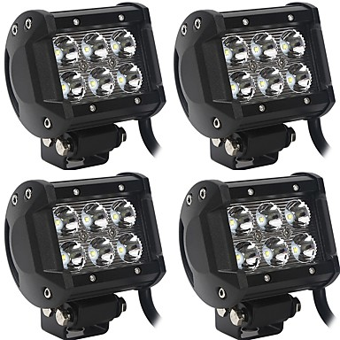 cheap Vehicle Working Light-OTOLAMPARA 4 Pieces 60W 6000LM Spot Flood Beam/Working Lights Combination High Performance LED Fit for Dodge Chevrolet Ford JEEP etc