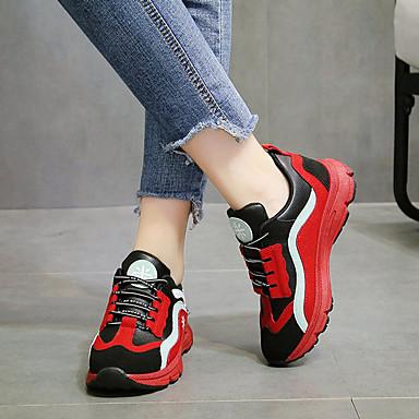 Femme Chaussures de confort Polyuréthane Polyuréthane Polyuréthane Automne Décontracté Chaussures d'Athlétisme Marche Talon Plat Jaune / Rouge / Rose 26a2db