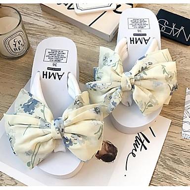 voordelige Damespantoffels & slippers-Dames Slippers & Flip-Flops Comfort schoenen Sleehak Canvas Lente Zwart / Blauw / Roze
