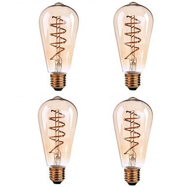 abordables Ampoules électriques-4pcs 5 W Ampoules à Filament LED 400 lm E26 / E27 ST64 1 Perles LED COB Décorative Filament mou Blanc Chaud 85-265 V