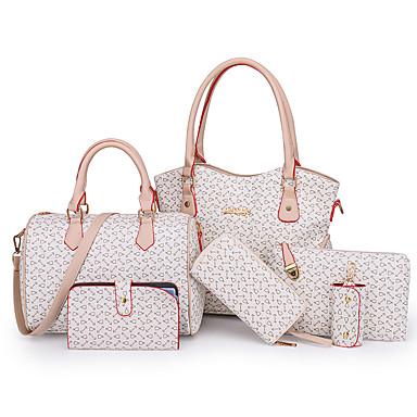 3dd91a1be4 Γυναικεία Τσάντες PU Σετ τσάντα 6 σελ. Σετ πορτοφολιών Φερμουάρ Γεωμετρικά  σχήματα Μαύρο   Ανθισμένο Ροζ   Καφέ