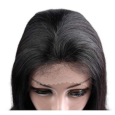 abordables Perruques Naturelles Dentelle-Perruque Cheveux Naturel Rémy Full Lace Lace Frontale Cheveux Brésiliens Droit Noir Coupe Asymétrique 130% 150% 180% avec des cheveux de bébé Homme Faciliter l'habillage Naturel Adorable Noir Femme