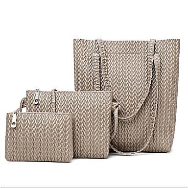 2a8e2b425f Women s Bags PU(Polyurethane) Bag Set 3 Pcs Purse Set Zipper Black   Brown    Khaki