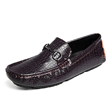 Men's Moccasin Crocodile Fall Casual Loafers Black & Slip-Ons Wear Proof Black Loafers / Brown 604d7e