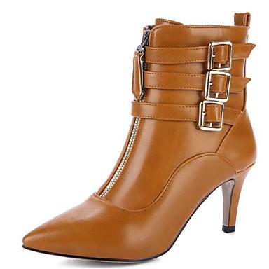 2019 Moda Per Donna Fashion Boots Pu (poliuretano) Autunno Inverno Stivaletti Tacco Cubano Appuntite Stivali Metà Polpaccio Fibbia Beige - Marrone - Verde Militare #06939074