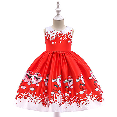 رخيصةأون ملابس الأميرات-فستان طول الركبة بدون كم ندفة ثلجية مناسب للحفلات / مناسب للعطلات عتيق / رياضي Active للفتيات أطفال / طفل صغير