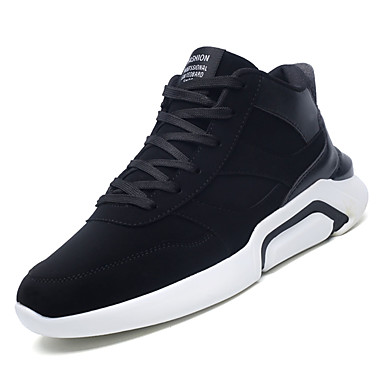 Men's Comfort Shoes PU(Polyurethane) Fall Casual Athletic Black Shoes Walking Shoes Breathable Black Athletic / Gray / Black and White 72643e