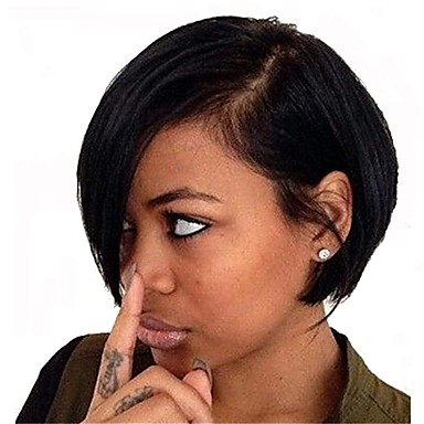 abordables Perruques Naturelles Dentelle-Perruque Cheveux Naturel Rémy Full Lace Lace Frontale Cheveux Brésiliens Droit Noir Coupe Asymétrique 130% 150% 180% avec des cheveux de bébé Homme Faciliter l'habillage Sexy Lady Naturel Noir Femme