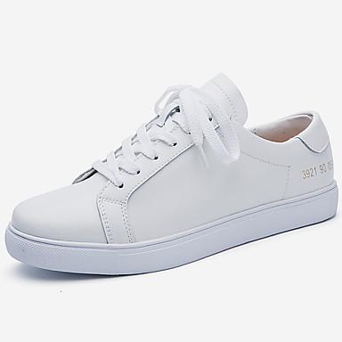 11de188563b Dam Sneakers Komfortskor Platt klack Tofs Läder Höst vinter Vit / Svart
