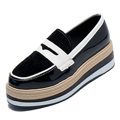 Women's Comfort Shoes PU(Polyurethane) PU(Polyurethane) Shoes Fall Casual Loafers & Slip-Ons Creepers Round Toe Black / Brown / Wine / Color Block 1d397f