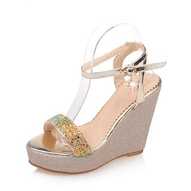 Damen Sandalen Komfort Schuhe Keilabsatz PU Sommer Gold / Weiß / Purpur