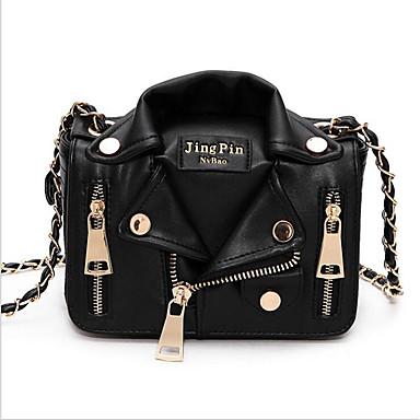 cheap Crossbody Bags-Women's Bags PU(Polyurethane) Shoulder Bag Zipper Black
