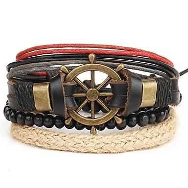 voordelige Herensieraden-4pcs Heren Lederen armbanden Retro Touw Anker Stijlvol Steampunk Schots PU Armband sieraden Bruin Voor Lahja Carnaval