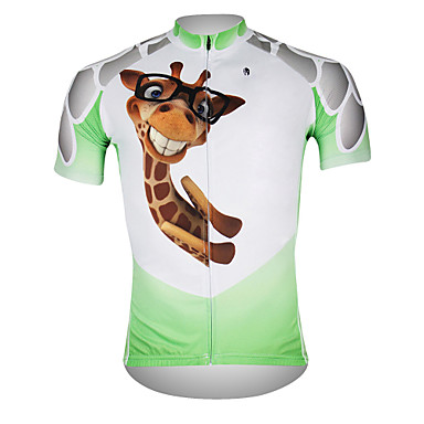 ILPALADINO Homme Manches Courtes Maillot de Cyclisme - Blanc  / Vert Girafe Cyclisme Maillot Hauts / Top, Respirable Séchage rapide Résistant aux ultraviolets 100 % Polyester / Anti-transpiration