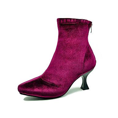 263ea8f8fd47c Mulheres Fashion Boots Couro Ecológico Outono Minimalismo Botas Salto  Carretel Dedo Apontado Botas Cano Médio Preto / Vinho
