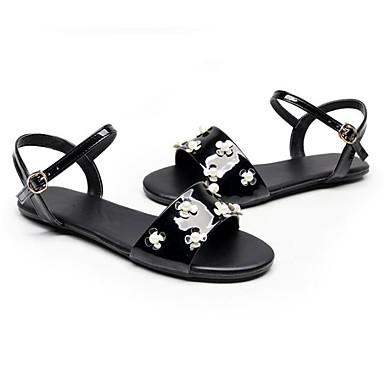 Women's Comfort Shoes Heel PU(Polyurethane) Summer Sandals Flat Heel Shoes Black / Gray / Red 414131