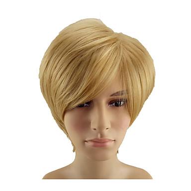 Synthetische pruiken Recht Blond Pixie-kapsel Goud Rose Synthetisch haar 10 inch(es) Heren Zacht / Hittebestendig / synthetisch Blond Pruik Kort Zonder kap hairjoy