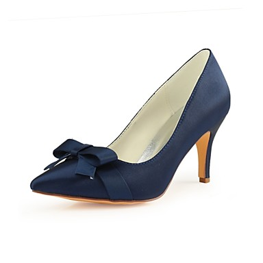 Women S Pumps Satin Fall Wedding Shoes Stiletto Heel Pointed Toe Bowknot Dark Blue Party
