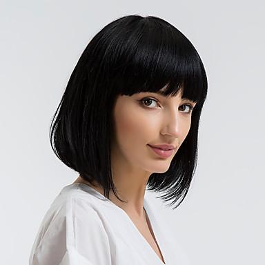 Human Hair Capless Parykar Äkta hår Rak Bob-frisyr Naturlig hårlinje Svart Utan lock Peruk Dam Dagliga kläder