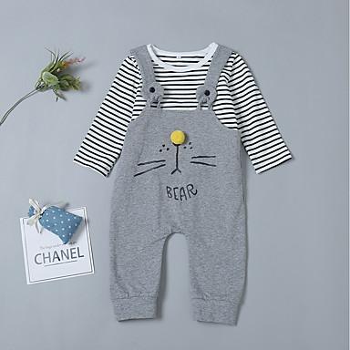 c795f8e3b6e Baby Girls  Active   Basic Daily Striped Basic Long Sleeve Cotton Romper  Dark Gray   Toddler