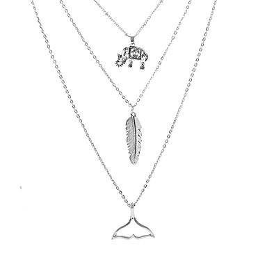 billige Mote Halskjede-Dame lagdelte Hals Multi Layer Elefant Fjær Enkel Europeisk Mote Legering Sølv 40 cm Halskjeder Smykker 1pc Til Ferie Bikini