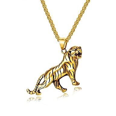 billige Mote Halskjede-Herre Anheng Halskjede Elegant franco kjede Tiger Mote Titanium Stål Gull Sølv 55 cm Halskjeder Smykker 1set Til Gave Daglig