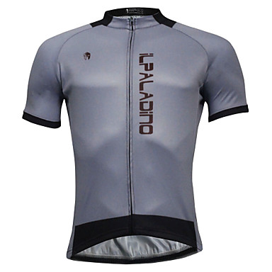 ILPALADINO Men's Short Sleeve Cycling Jersey Gray Solid Color Bike Jersey Top Quick Dry Sports Polyester Coolmax® Eco-friendly Polyester Mountain Bike MTB Road Bike Cycling Clothing Apparel