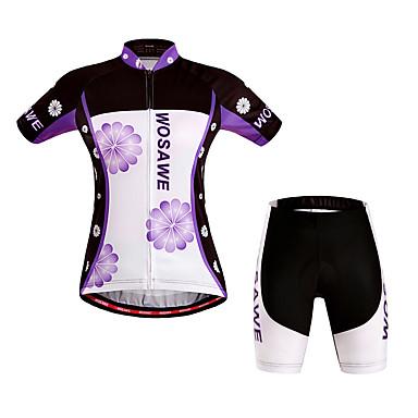 WOSAWE Damen Kurzarm Fahrradtriktot mit Fahrradhosen - Purpur Fahhrad Shorts / Laufshorts / Trikot / Radtrikot / Gepolsterte Shorts, Windundurchlässig, Atmungsaktiv, 3D Pad, Rasche Trocknung